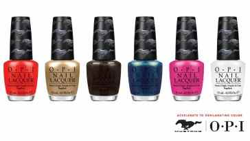 "OPI and Ford Motor Company are going full throttle and taking the ""pedi to the metal"" with the official launch of the limited-edition nail lacquer collection inspired by the popular Ford Mustang. The OPI Ford Mustang collection features six Mustang-inspired shades that are set to hit U.S. stores in July."
