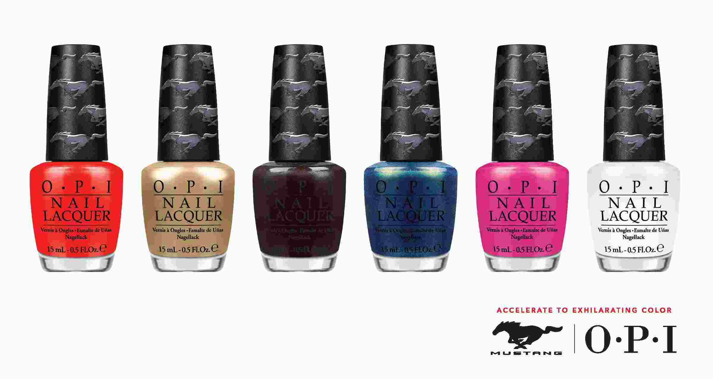 """OPI and Ford Motor Company are going full throttle and taking the """"pedi to the metal"""" with the official launch of the limited-edition nail lacquer collection inspired by the popular Ford Mustang. The OPI Ford Mustang collection features six Mustang-inspired shades that are set to hit U.S. stores in July."""