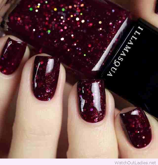Burgundy-glitter-Christmas-nail-polish
