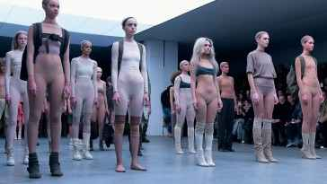 NEW YORK, NY - FEBRUARY 12:  Models on the runway at the adidas Originals x Kanye West YEEZY SEASON 1 fashion show during New York Fashion Week Fall 2015 at Skylight Clarkson Sq on February 12, 2015 in New York City.  (Photo by Gareth Cattermole/Getty Images for adidas)