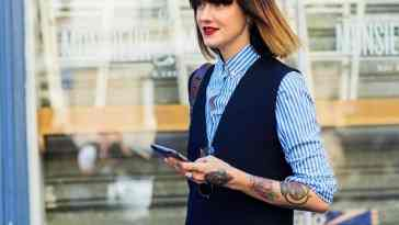 blue shirt, fashion week, frenchystyle, full length, FW, jonathan paciullo, marianne theodorsen, navy jumpsuit, PARIS, PFW, red lips, SPRING SUMMER 2016, SS 16, street style, striped shirt, stripes, tattoos, vertical, woman
