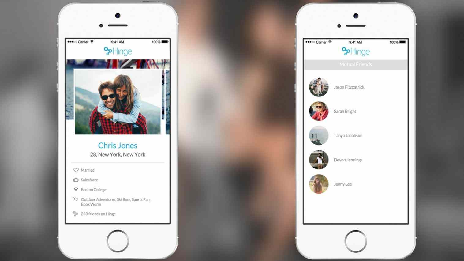 Hinge is a dating app that makes introductions through mutual friends on Facebook. It announced Wedneday, May 13, 2015, that it would begin to list relationship status in an effort to crack down on cheaters.
