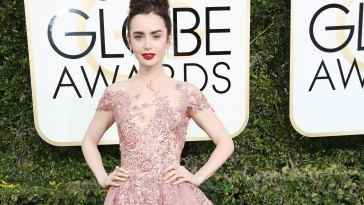 Mandatory Credit: Photo by BEI/Shutterstock (7734784bt) Lily Collins 74th Annual Golden Globe Awards, Arrivals, Los Angeles, USA - 08 Jan 2017